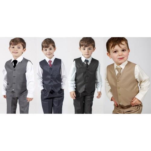 Boys Grey 4 Piece Waistcoat Suit