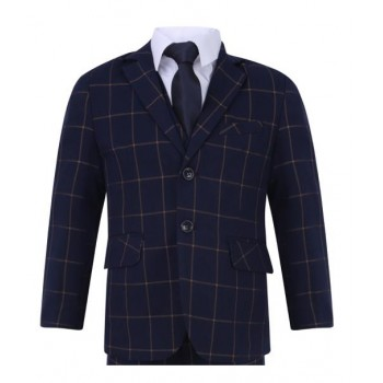 Boys Checked Slim Fit Suit in Black / Navy Blue 1 - 15 years £39.99