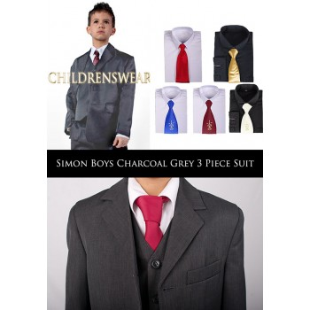 Simon Communion / Wedding Suit - Charcoal Grey 3 Piece Suit  FREE SHIRT AND TIE 6m-15y BUY OR HIRE from just £10.99