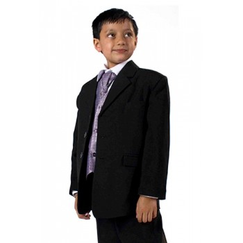 5 Piece Black Suit (Lilac Waistcoat)- BUY OR HIRE FROM 10.99