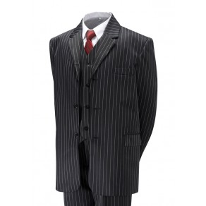 5 Piece Black Pinstripe Suit