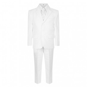 5 Piece Boys White Suit Page Boy, Wedding, Communion 1 to 15 years Italian Design