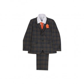 6 Piece Boys Grey Plaid Suit Set (1-15 Years) - BUY OR HIRE from just £49.99