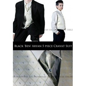 Black 'Ben' Aryan 5 piece Cravat Suit  6 mths-15 yrs- BUY OR HIRE from just £10.99