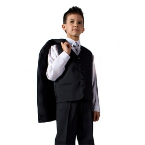 HP3 Jaspar Black 3 Piece Pinstripe Suit 1yr -13 yr BUY OR HIRE from just £10.99