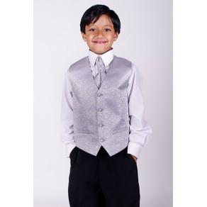4 Piece Silver Waistcoat Suit