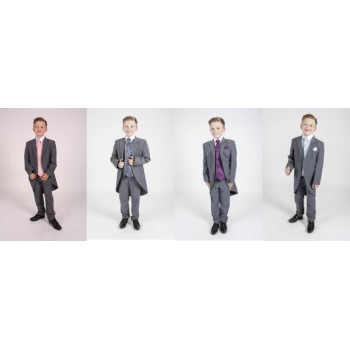 Boys 5 Piece Grey Tailcoat Suit Dobby (HP1) in Pink/Purple/Blue/Navy BUY OR HIRE from just £10.99