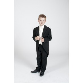 Boys 5 Piece Tailcoat Morning Suit Wedding Formal Suit - 3 Colours Black Cream Grey  (HP1) BUY OR HIRE from just £10.99