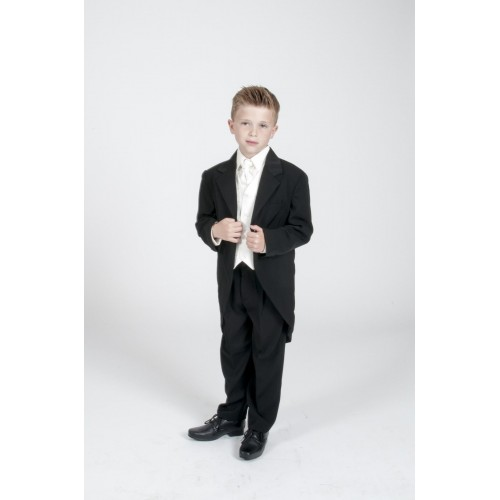 Boys 5pc Tailcoat Morning Suit Wedding Formal Suits 3 Colours Black ...