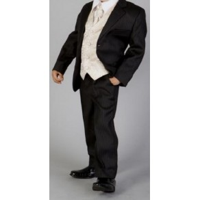 HP3  (Marcel 'Andre' 5 Piece Black Pinstripe Suit with Gold Waistcoat & Cravat)- BUY OR HIRE from just £10.99