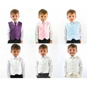 Boys Suits Waistcoat Suits Boys Wedding Suits 4pc Baby Page Boy Party 6 Colours