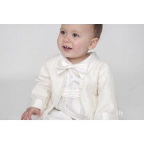 BOYS HP1 DIAMOND CHRISTENING ROMPER IN IVORY BUY OR HIRE from just £10.99