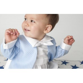 BOYS DIAMOND CHRISTENING ROMPER IN BLUE BUY OR HIRE from just £10.99
