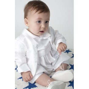 BOYS PAISLEY CHRISTENING ROMPER IN WHITE BUY OR HIRE from just £10.99