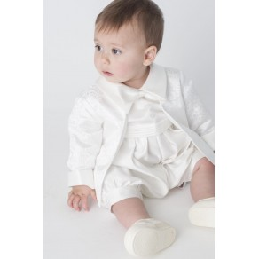 BOYS HP1 PAISLEY CHRISTENING ROMPER IN IVORY BUY OR HIRE from just £10.99