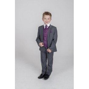 5PC GREY DIAMOND SUIT IN PURPLE (HP1)