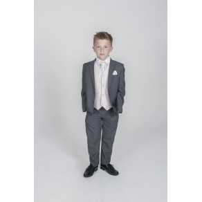 5PC GREY DIAMOND SUIT IN PINK (HP1)