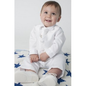 BOYS CHECKED CHRISTENING SUIT IN WHITE (HP1) BUY OR HIRE from just £10.99