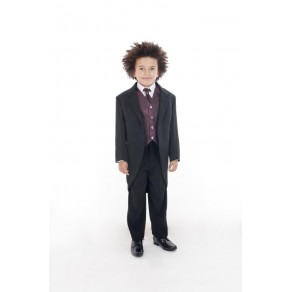 5 PIECE WINE PAISLEY TAIL SUIT (HP1)