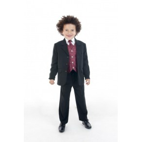 5 PIECE DOBBY SUIT IN WINE (HP1) BUY OR HIRE from just £10.99