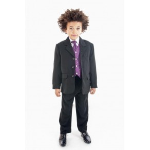 5 PIECE DOBBY SUIT IN PURPLE (HP1)