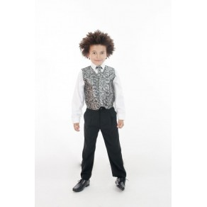5 PIECE PAISLEY SUIT - SILVER / WINE- (HP1) BUY OR HIRE from just £10.99