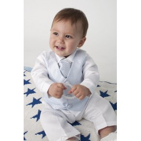 Boys Checked Christening Suit in Blue