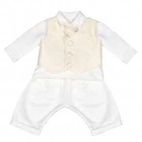 BOYS CHECKED CHRISTENING SUIT IN GOLD (HP1) BUY OR HIRE from just £10.99