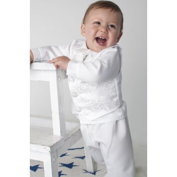 BOYS PAISLEY CHRISTENING SUIT IN WHITE BUY OR HIRE from just £10.99