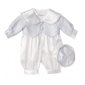 BOYS CHRISTENING ROMPER IN BLUE (HP1) BUY OR HIRE from just £10.99