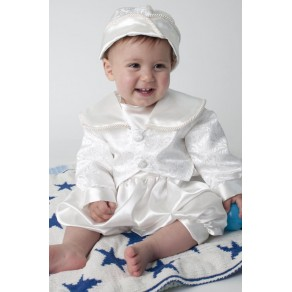 BOYS CHRISTENING ROMPER IN WHITE (HP1)  BUY OR HIRE from just £10.99