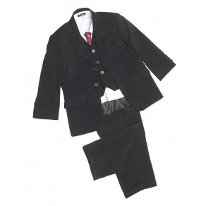 5 PIECE CLASSIC SUIT IN PLAIN BLACK/ BLACK PINSTRIPE (HP1) BUY OR HIRE from just £10.99