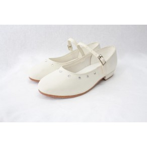 GIRLS SATIN SHOES IN CREAM (HP1)
