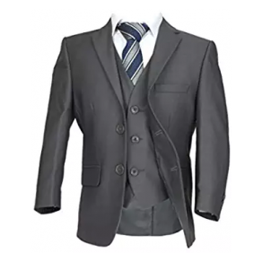 Boys Grey 5 Piece Wedding Suit