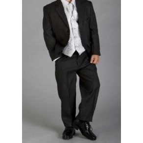 HP3 (Marcel 'Sergio'  5 Piece Black Pinstripe Suit with Silver Waistcoat & Cravat) BUY OR HIRE from just £10.99