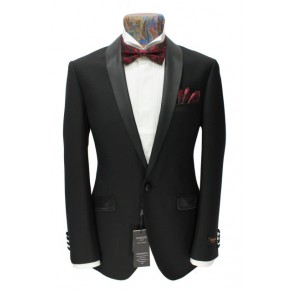 Prince Edward1- Mens Black 1-Button Slim Fit Dinner Suit TUXEDO- BUY OR HIRE from just £15.99